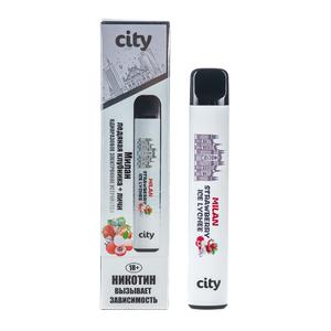 Одноразовая электронная сигарета City North Milan Ice Lychee Strawberry (Милан Ледяная клубника личи) 500 затяжек